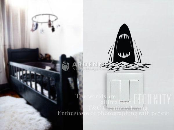 【ARDENNES】趣味開關貼/牆貼/居家佈置小物 超Q卡通貼OP013海洋鯊魚