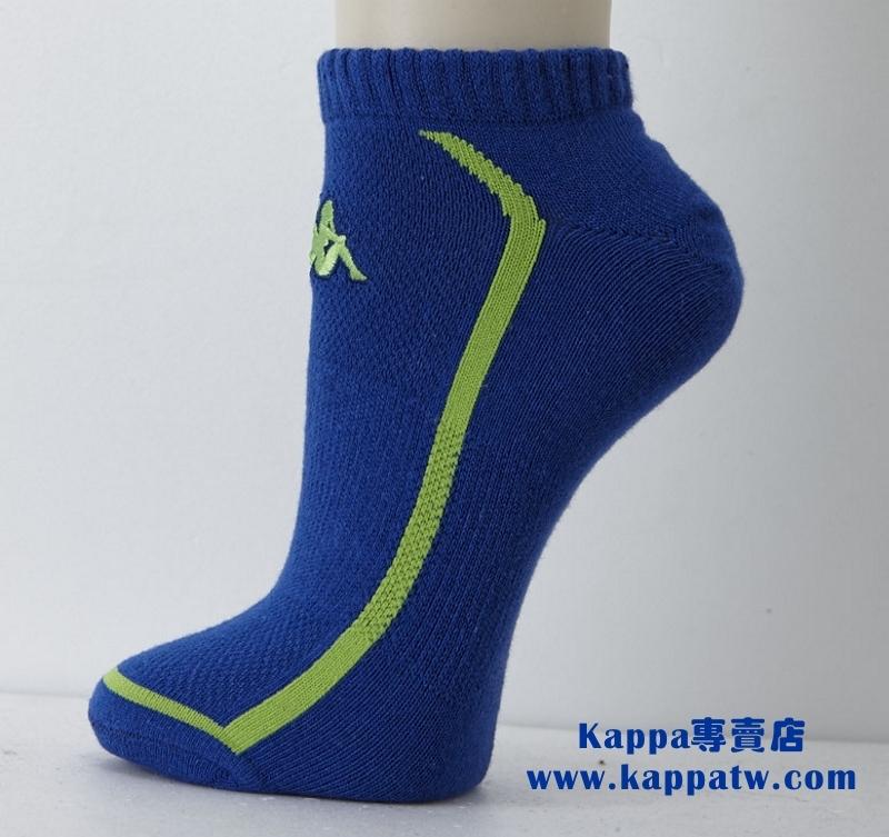 Kappa男生踝襪-科技藍蘋果綠薄底SM62-M228-5