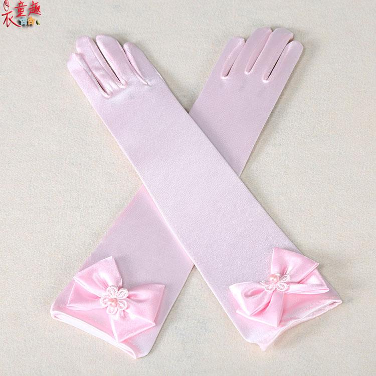 衣童趣 ♥高貴女童長手套 長款兒童禮服手套 甜美蝴蝶結公主配件 手套