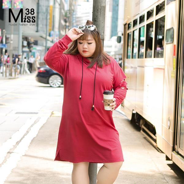 Miss38-現貨潮牌大紅休閒連帽長袖破洞帽T恤連衣裙A07019
