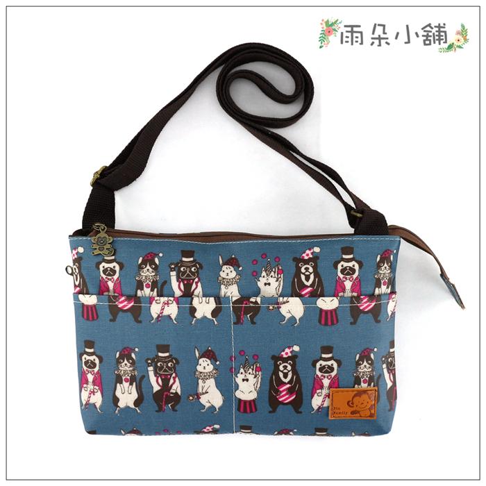 側背包包包防水包雨朵小舖M354-001巧空間側背包-綠可愛馬戲團08097 funbaobao