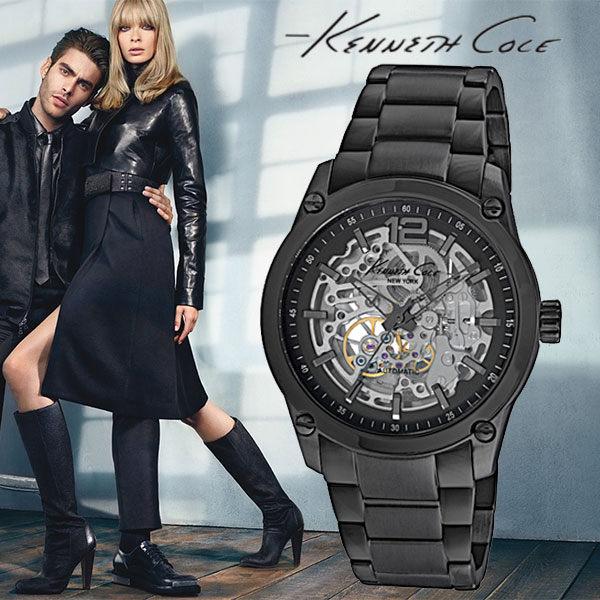 Kenneth Cole帥氣黑鋼數字雙面鏤空黑鋼機械錶x43mm公司貨保固2年IKC9381高雄名人鐘錶
