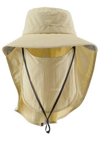 荒野WILDLAND男女抗UV可脫式遮陽帽防曬工作帽登山健行休閒帽遮臉大圓盤帽W1030-40黃