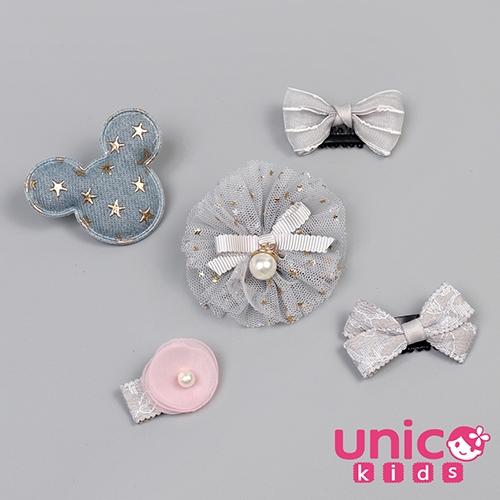 UNICO 兒童 少髮量寶寶暖冬色系可愛米奇髮夾組合-5入組