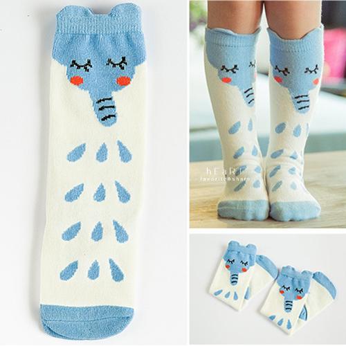 可愛大象水滴長襪 童襪 棉感襪 印花長襪ˇ