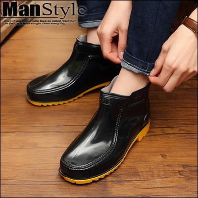 懶人鞋牛筋雨鞋男士短靴低筒鞋防滑耐磨防水雨靴水鞋塑膠鞋套鞋09S0997