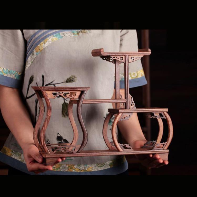 超豐國際茶杯架子茶具收納架小博古架擺件雞翅木茶葉展示茶1入