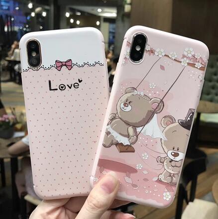 SZ35 iPhone X手機殼小熊蝴蝶結浮雕粉色系iPhone7 8 plus手機殼iPhone6s手機殼