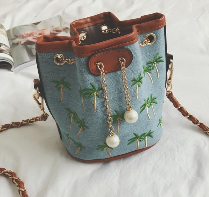 Denim Janes bag熱銷歐美高級牛仔布料刺繡水桶包牛仔包丹寧包肩背斜背包