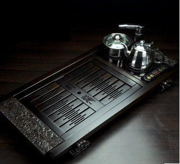 黑檀木祥龍雕刻茶盤自動抽水 四合一
