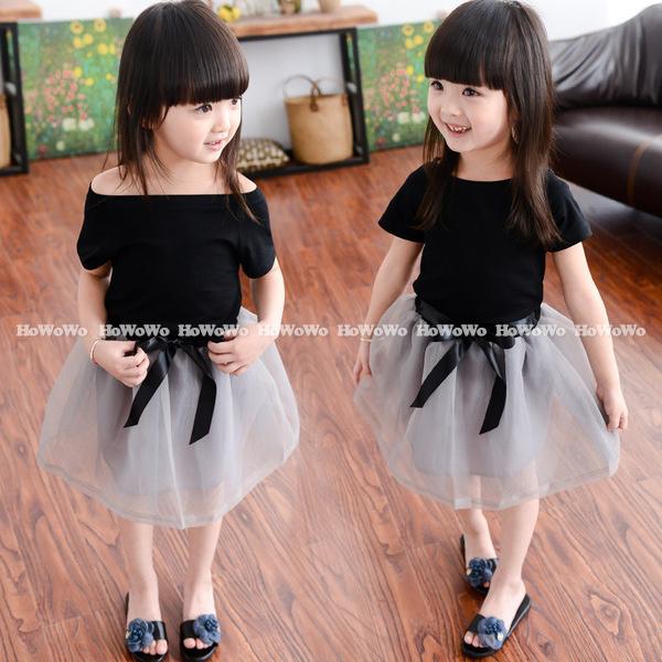 女童短袖套裝短袖上衣網紗短裙套裝寶寶童裝小禮服MS6090好娃娃