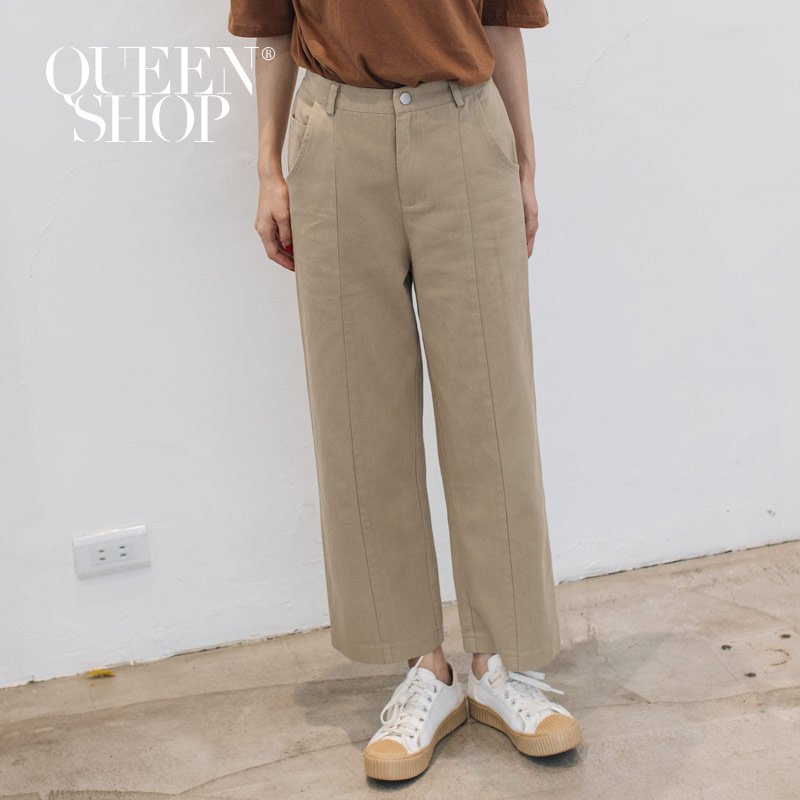 Queen Shop【04101340】車線直筒素色長褲 兩色售 S/M/L*現+預*