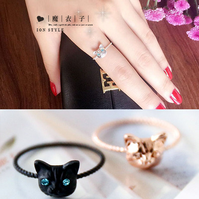 Q30A38魔衣子-可愛逼真小貓咪鑲鑽食指尾戒