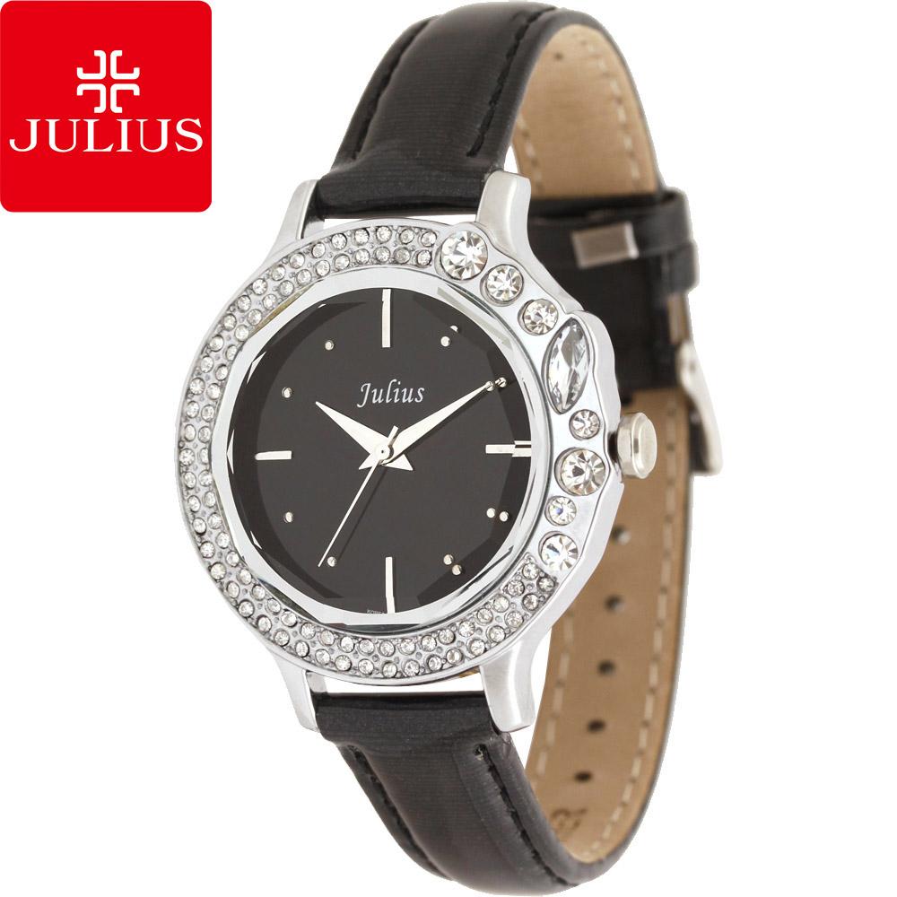 JULIUS 聚利時 蜜亞公主滿鑽立體鏡面皮帶腕錶-黑×黑面/36mm 【JA-631B】