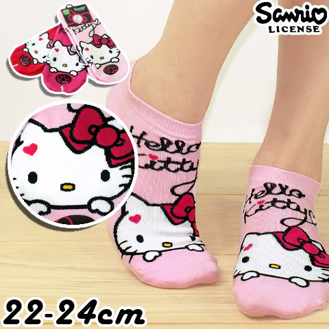 【esoxshop】日本Sanrio Hello Kitty 直版襪-小愛心│KT-A543│正版授權《凱蒂貓/棉襪/造型襪/短襪/踝襪》