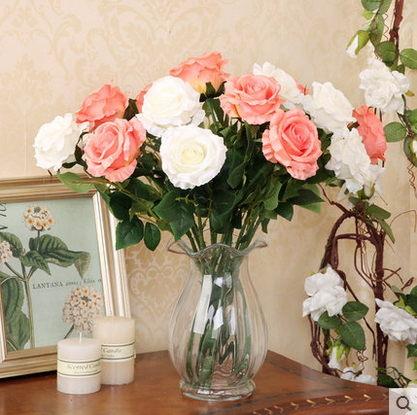 F0661 仿真玫瑰花 玫瑰假花絹花客廳餐廳新房裝飾花(單支)