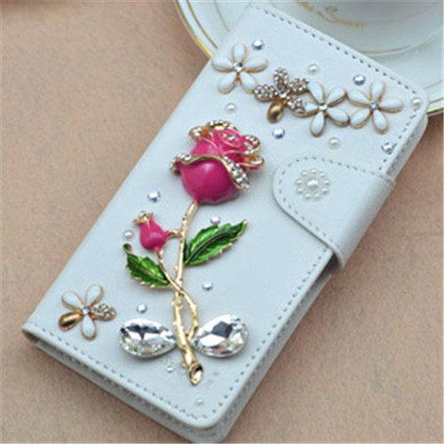 俏魔女美人館HTC ONE E8白色紅玫瑰皮套水鑽保護殼翻蓋套貼鑽手機套保護殼保護套
