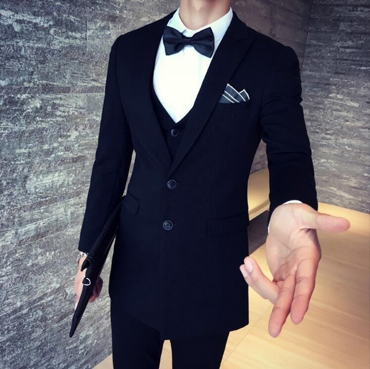 找到自己品牌韓國男抗皺面料西裝外套穿搭三件式套裝成套西裝西裝修身外套背心褲子