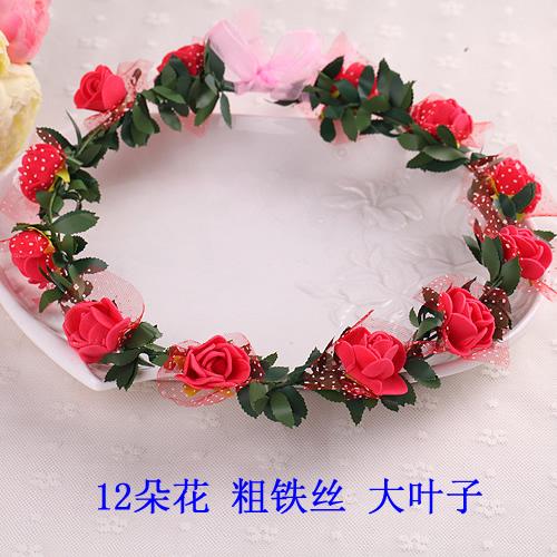 新娘婚紗寫真拍照攝影頭飾玫瑰花環發箍發帶海邊沙灘發飾(12朵花)─預購CH1657