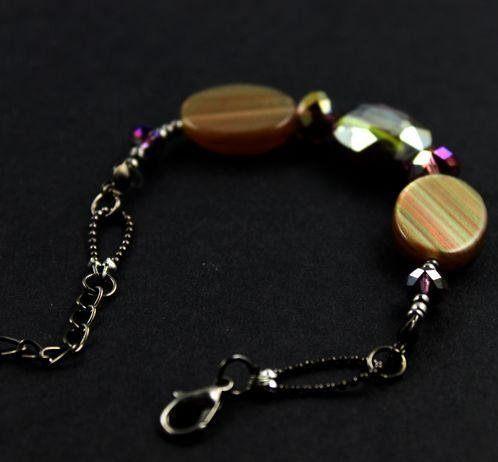 飾品新品日系拉絲貝殼水晶手工串珠手鏈