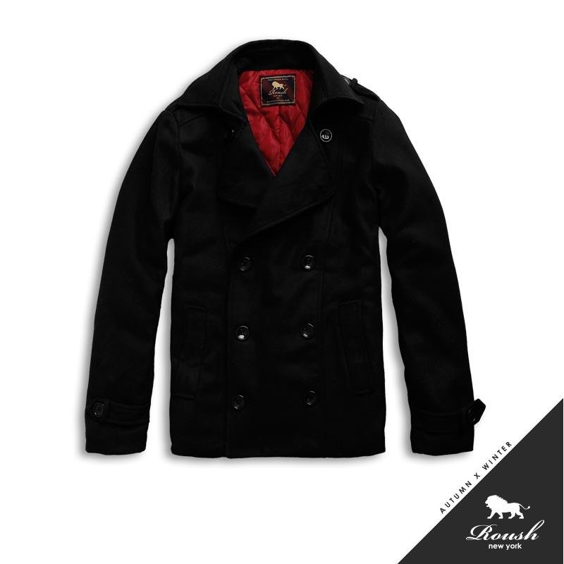 【Roush】韓版雙排扣軍裝鋪棉短大衣 - 【51059】