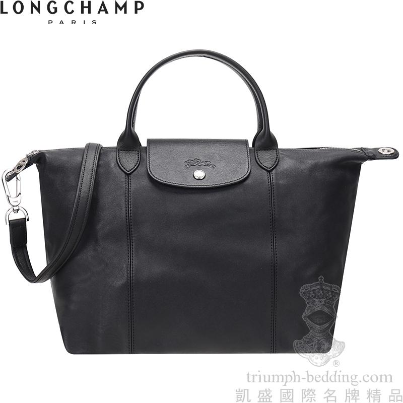凱盛國際名牌精品LONGCHAMP Le Pliage Cuir頂級小羊-黑色-中款-短手提把折疊手提斜側肩背水餃包