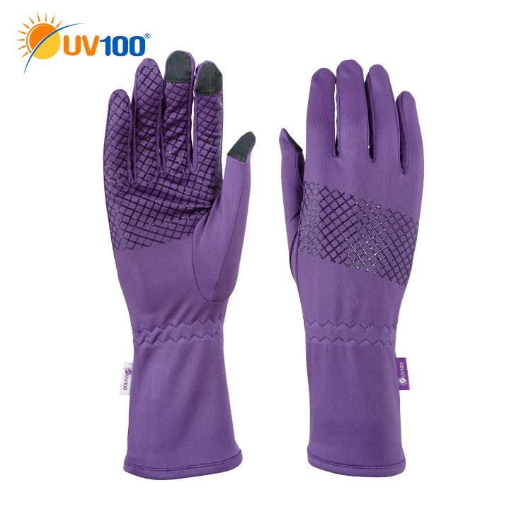 UV100 防曬 抗UV-觸控中長版手套-格紋止滑