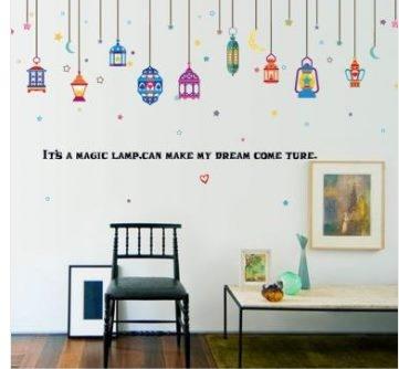 預購-現代臥室客廳玄關玻璃窗裝飾貼畫阿拉伯綵燈
