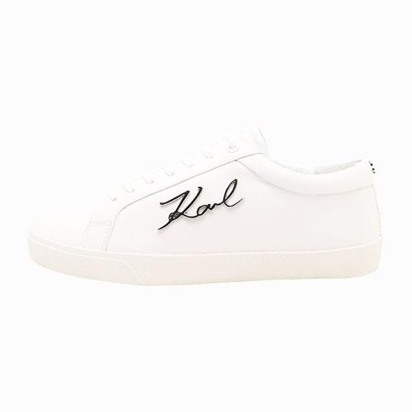 Karl Lagerfeld 鞋 SKOOL 草寫簽名綁帶休閒男鞋-白