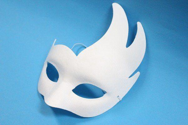 火焰半罩面具空白面具附鬆緊帶一袋50個入定40彩繪面具DIY面具紙漿面具