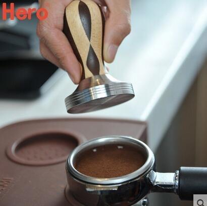 不銹鋼壓粉器 新款木質手柄咖啡壓粉錘 58mm咖啡機專用填壓器