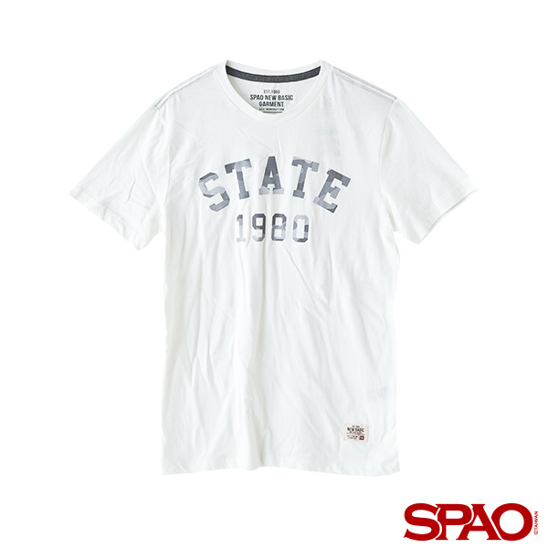SPAO男款字母數字短袖T恤