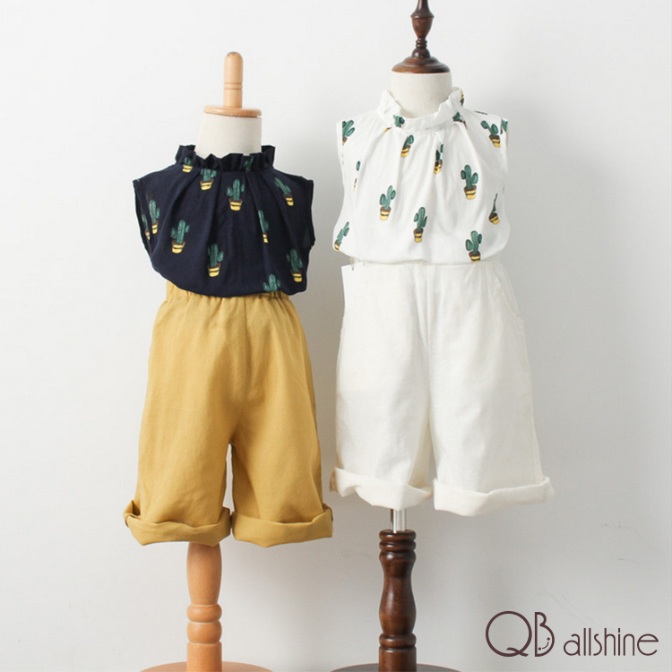 女童套裝 韓版仙人掌圖小高領無袖上衣 棉麻寬管長褲 QB allshine