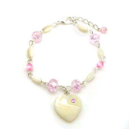 粉紅鑽貝殼心與貝殼米型手鍊