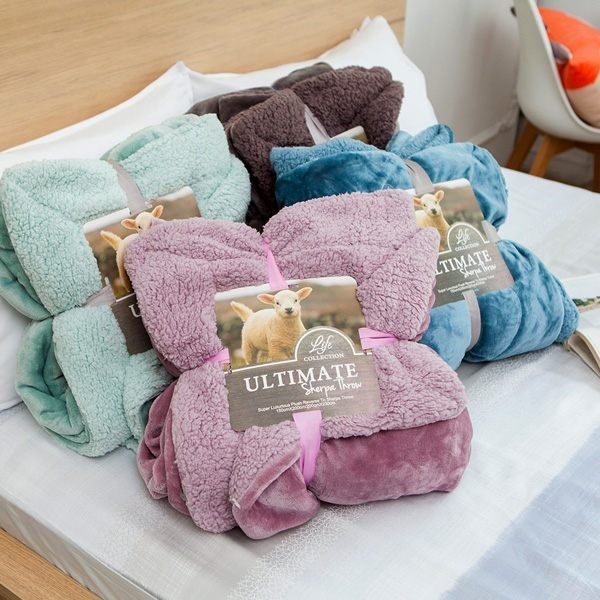 BELLE VIE 特大尺寸 經典原色 雙面羊羔法蘭絨大毯 (180x210cm) 6色任選