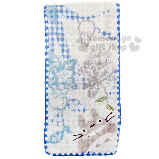 〔小禮堂〕宮崎駿 Totoro 龍貓 毛巾布收納袋《藍白.格紋.葉子.朋友》日本丸真系列 4992272-60179
