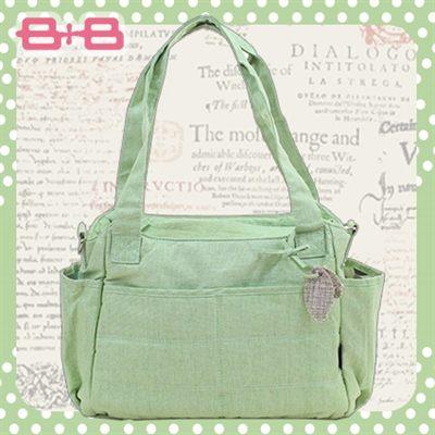 經典純靜媽媽包-綠尿布墊保溫袋多功能肩揹側背媽咪包HAPPY B B E-B-95145-G