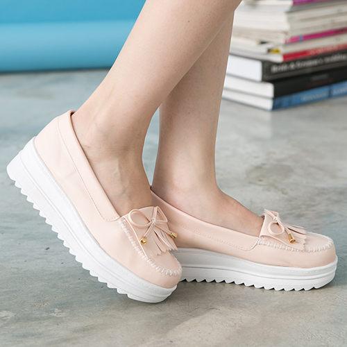 女款韓系流蘇厚底莫卡辛厚底鞋鬆糕鞋MIT製造粉色59鞋廊