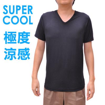 SuperCoolII涼感V領衫黑色男涼感衣排汗衫涼感背心V領排汗衣吸濕排汗衣mocodo魔法豆