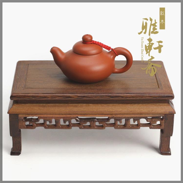 [超豐國際]雅軒齋紅木長方形花瓶底座雞翅木質花盆擺件實木佛像1入