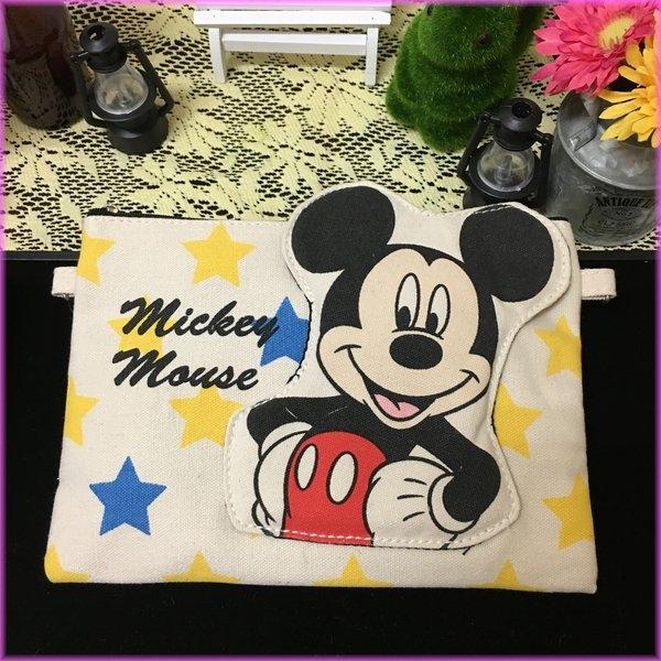 迪士尼米奇帆布小斜背包側背包立體造型收納包女衣閨蜜生日禮物