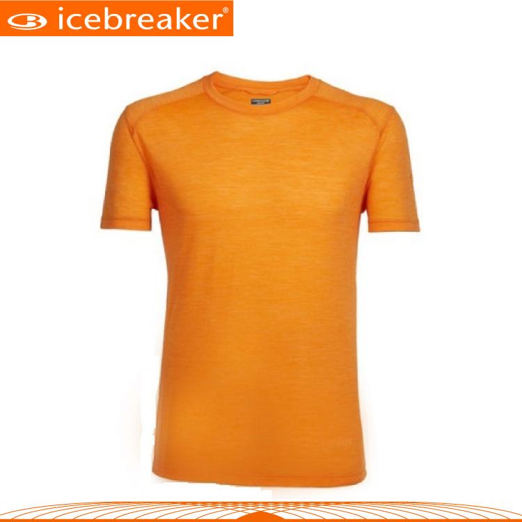 【Icebreaker 男 COOL-LITE圓領短袖上衣JN130《橘》】103608/快乾機能服/透氣衫/運動