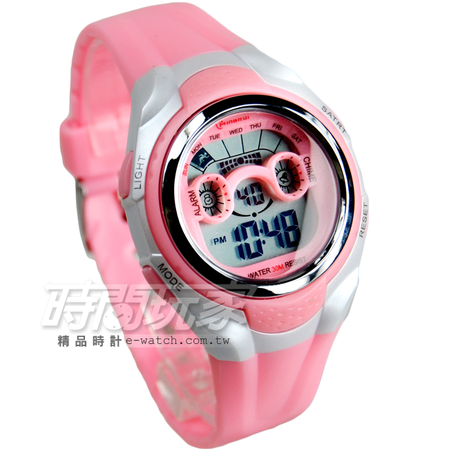 MINGRUI輕便多功能計時腕錶學生錶電子錶兒童手錶女錶鬧鈴日期冷光照明MR8580粉紅