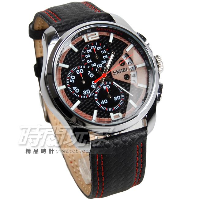 SKMEI時刻美高質感三眼皮革時尚防水手錶男錶真三眼日期顯示視窗運動錶SK9106紅黑