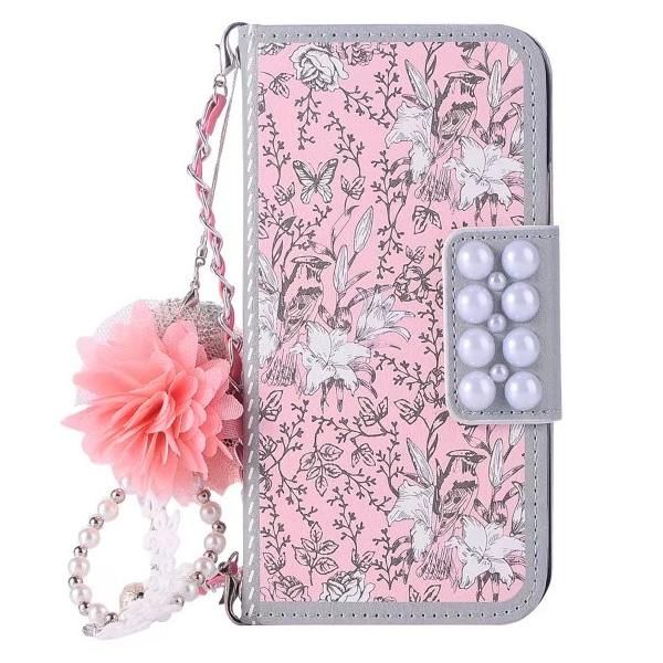蘋果IPhoneX I8 I8 Plus手機皮套皮套插卡磁扣掛件吊飾韓系淑女系粉碎花皮套PZ
