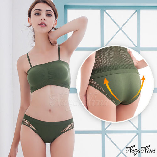 【性感寶盒】★性感小V!無縫透氣洞洞低腰內褲S-XL(軍綠)★┌NA15350005
