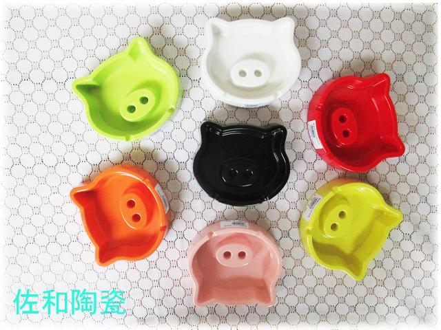 ~佐和陶瓷餐具~【05M370-6.7 豬頭菸灰缸-黑白】煙灰缸