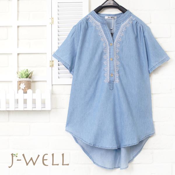 J-WELL 民族風淺藍牛仔上衣 8J1223