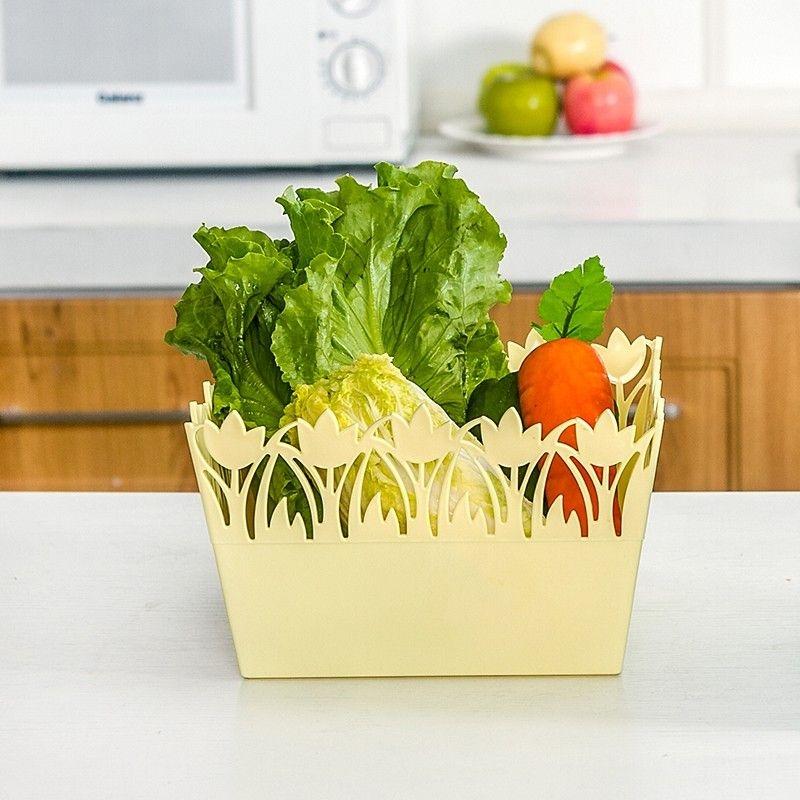 糖果色方形花邊收納盒桌面整理盒雜物收納盒-黃色鬱金香魔小物現貨1