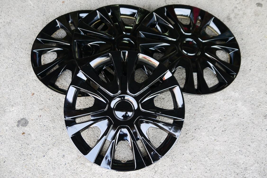 全黑款改裝亮面款仿鋁圈樣式通用型汽車13吋14吋專用輪圈蓋鐵圈蓋4片入無LOGO字樣